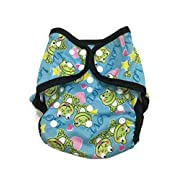 BB2 Baby One Size Printed Black Gussets Snaps Cloth Diaper Cover for Prefolds (One Size, Frogs)