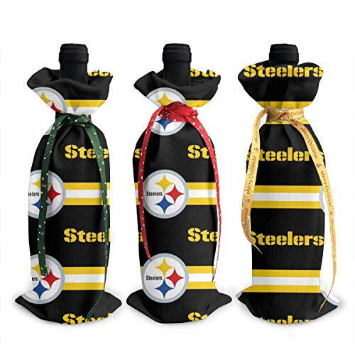 Sorcerer Design Pittsburgh Steelers 3Pcs Wine Bottle Cover Decoration Cover Bags Wine Bags Gift Party Wedding Christmas Hotel Bar Kitchen Table Decor