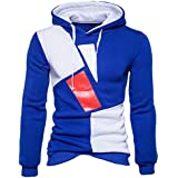 Mens Sweatshirt,FUNIC Mens Autumn Winter Casual Long Sleeve Hooded Sweatshirt Tops Blouse (L, Blue)