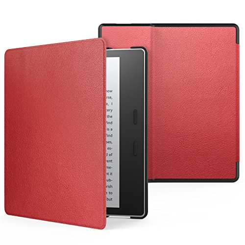Oasis Red - MoKo Case Fits All-New Kindle Oasis (9th and 10th Generation ONLY, 2017 and 2019 Release), Premium Ultra Lightweight Shell Cover with Auto Wake/Sleep - RED