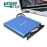 External CD DVD Drive USB 3.0, Dansrue Portable Ultra-Slim CD-RW DVD-RW Rewriter Burner Player for Laptop Apple Mac Macbook Pro PC Windows Vista Linux, Blue (Blue C): more info