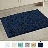 H.VERSAILTEX 20x32 inch Oversize Bathroom Rug Shag Shower Mat Soft Texture Floor Mat Machine-washable Bath mats with Water Absorbent Soft Microfibers Rugs for Kitchen, Navy