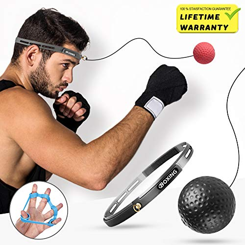 Boxing Reaction Fight Reflex Stress Ball,i-FSK Training Ball Perfect for Reaction, Agility, Punching Speed, Fight Skill and Hand Eye Coordination Training with Adjustable Headband Finger ()