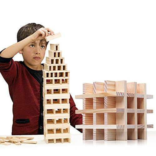 NEOWOWS 200 Pieces Wooden Building Blocks Stacking Games Construction Educational Toys for Kids Toddlers Boys Girls by NEOWOWS