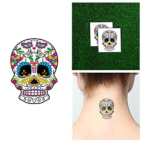 [Tattify Bright Sugar Skull Temporary Tattoo - Los Colores (Set of 2) - Other Styles Available and Fashionable Temporary Tattoos - Tattoos that are long lasting and] (Sugar Skull Makeup Ideas)
