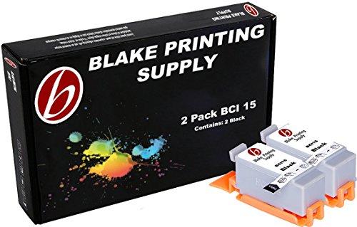 2 Black Blake Printing Supply BCI15 Ink Cartridges Canon i70 i80 PIXMA iP90 PIXMA ()