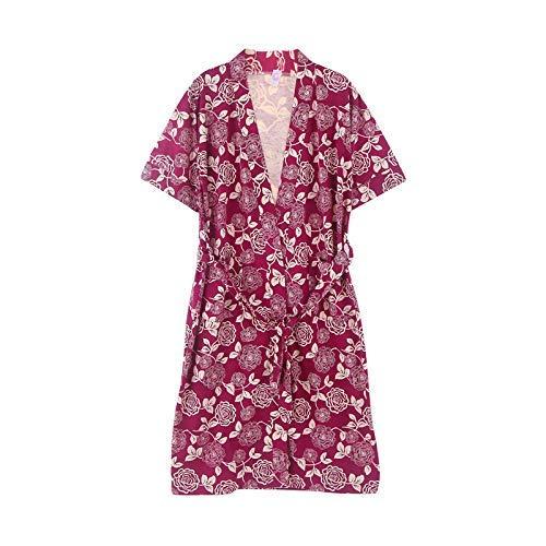 FERFERFERWON Nachthemd Sommer-Damenmantel aus gekämmter Baumwolle dünner kurzärmeliger Langer Yukata-Sommerbaumwollbademantel (Farbe  Rot, Größe  XXL)