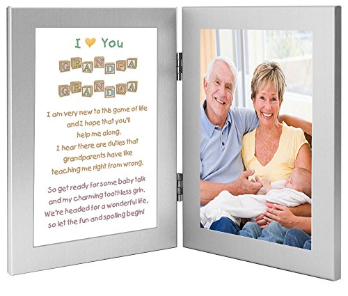 amazoncom gift for grandparents from baby touching poem frame from grandchild add photo