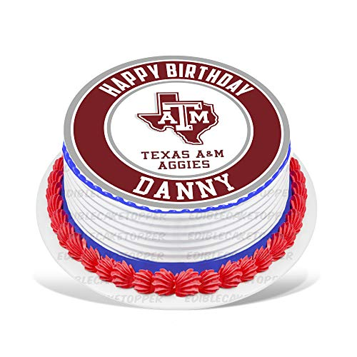 Texas A&M Aggies Edible Cake Topper Personalized Birthday 8