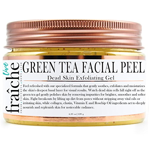 Live Fraiche 24k Gold Brightening Facial Peeling Gel Green Tea - 4.23oz -Secret Cure to Clogged Pores -Gentle Deep Exfoliator Key to Remove Dead Skin & Dirt for forever flawless clearer younger skin ()