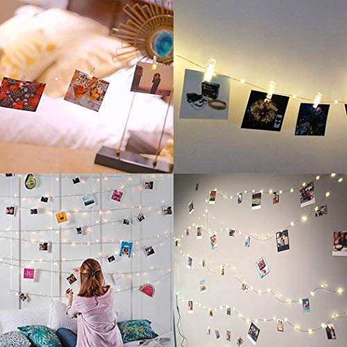 Borisdar Photo Clip String Lights Fairy String Lights with Clear Clips for Hanging Pictures Wall Decor Outdoor String Lights