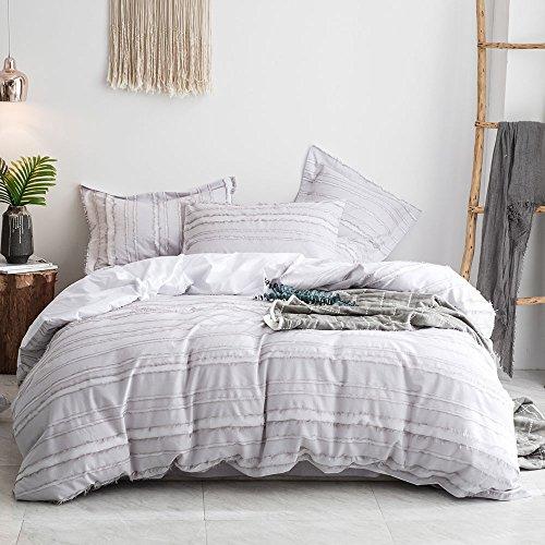 Merryfeel 100% cotton woven Stripe Duvet Cover Set - Grey Stripe,King