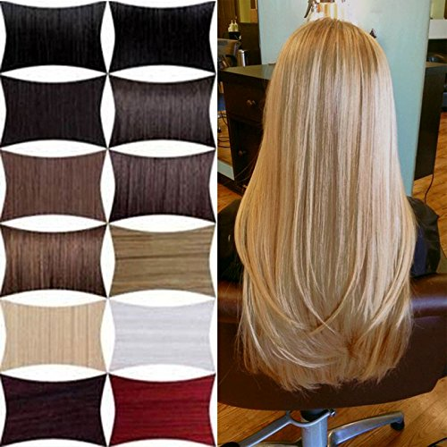 FUT 18 Clips in 8 PCS 3-5 Days Delivery 22inch 80g Straight Full Head Grade 7a 100 Percent Human Hair Pieces Extensions for Girl Lady Women Medium Brown