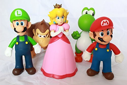Super Mario Bros Brothers Action Figures Collection 5 pcs - Mario Inch Figures 5