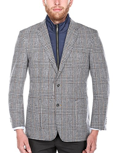 Glen Plaid Coat (Chama Men's Plaid Wool Blazer, Sports Coat with Removable Bib (Blue, 46L))