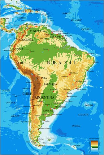 Poster 20 X 30 Cm South America Topographic Map By Colourbox