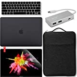 GMYLE New MacBook Pro Touch Bar 13 Inch A1989 / A1706 / A1708 (2016,2017,2018 Release) Bundle, USB C Hub Adapter, Hard Case, Carrying Canvas Sleeve Bag, Keyboard Cover & Screen Protector - Black