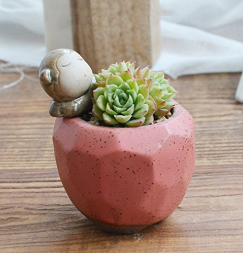YOURNELO Mini Cute Animal Crude Pottery Flower Pot Succulent Planters Vase ()