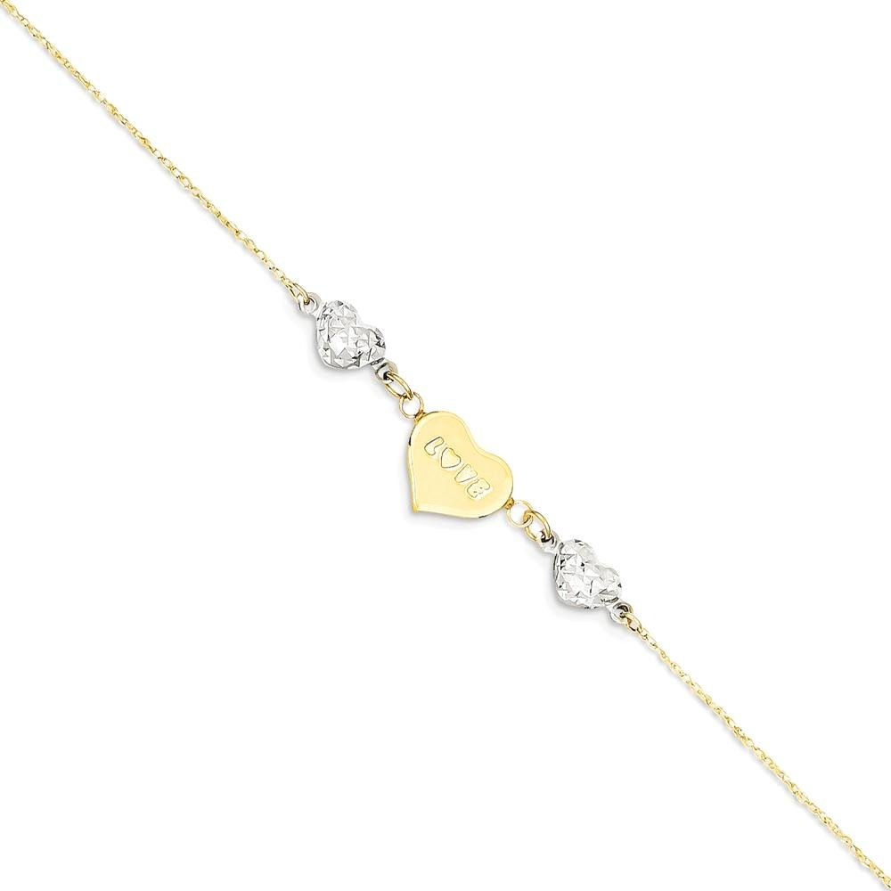ICE CARATS 14k Two Tone Yellow Gold Heart Love 1 Inch Adjustable Chain Plus Size Extender Anklet Ankle Beach Bracelet Fine Jewelry Gift Set For Women Heart