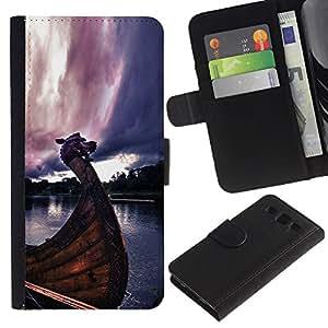 LECELL--Cuero de la tarjeta la carpeta del tirón Smartphone Slots Protección Holder For Samsung Galaxy S3 III I9300 -- Barcos Vikingos --