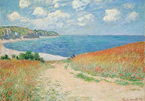 Path Through the Corn at Pourville by Claude Monet French Impressionism Plein Air Landscape Peel and Stick Large Wall Mural Removable Wallpaper