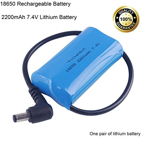 18650 2200mAh Rechargeable Battery 7.4V Lithium Battery with Cable Prevent Overcharged Over Discharge Long Life Convenient Socket Designed for Smart Robot Car by (2200 Cables)