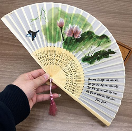 White Green 1 Pc Chinese Style 100% Silk Bamboo Poem Oriental Painting Folding Hand Fan Dance Party Wedding (Kinder Halloween Poems)