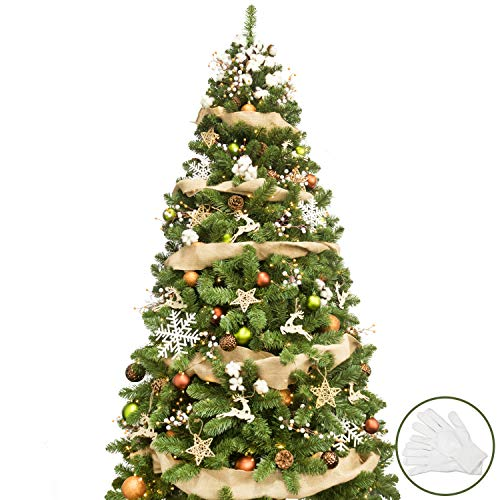 KI Store 7ft Artificial Christmas Tree with Ornaments and Lights Woodland Christmas Decorations Including 7 Feet Full Tree, 154pcs Ornaments, 2 pcs 59ft USB Mini LED String Lights
