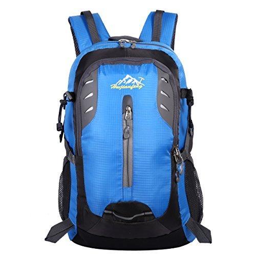 HWJIANFENG 30L Mochilas de Senderismo para Montaña de Acampadas de Nylon Mochilas de Excursion para Viajes Unisex de Ciclismo color Negro azul