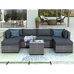Garden and Outdoor Merax 7-PCS Wicker Conversation Furniture Set, Patio Sofa and Table Set w/Outdoor Rattan Sofa Set for Balcony Backyard… patio furniture sets