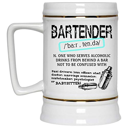 To Be A Bartender Beer Mug, Bartender Who Serves Alcoholic Drinks From Behind A Bar Beer Stein 22oz, Birthday gift for Beer Lovers (Beer Mug-White) ()