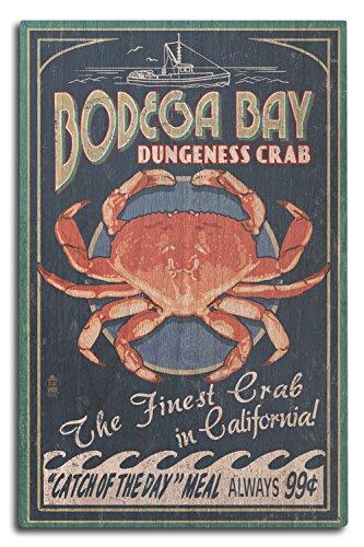 Bodega Bay, California - Dungeness Crab Vintage Sign (10x15 Wood Wall Sign, Wall Decor Ready to Hang)