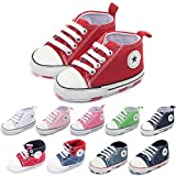 Tutoo Unisex Baby Boys Girls Soft Sole Sneakers Newborn Intant First Walkers Canvas Shoes (3-6 Months, Red)