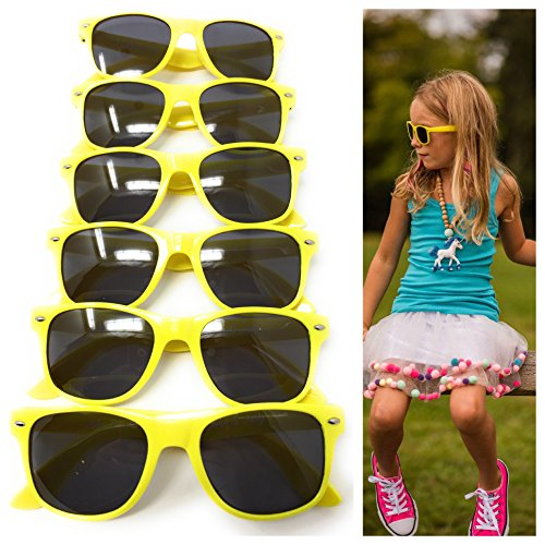 6 Pack Yellow Kids Party Sunglasses - Best For Party Favors, The Beach, Pool And Outdoor Activities - Wayfarer Style Glasses - 100% UV Protection For Boys And Girls - - Sunglasses Style Best Wayfarer