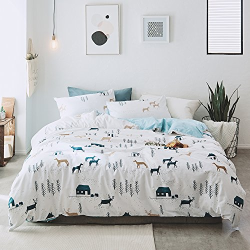 3 Piece Boys Twin Bedding Sets Cartoon Animal Deer Twin Duvet Cover Set with Pillowcases for Kids Teen Girls 100% Cotton Reversible Lightweight Child Tree House Home Bedding Duvet Cover White Blue