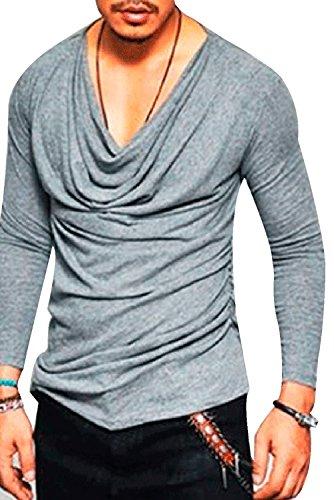 JOKHOO Men's Fashion Hipster Hiphop Heaps Collar Long Sleeve T-Shirt (Grey, S) Long Sleeve Johnny Collar Shirt
