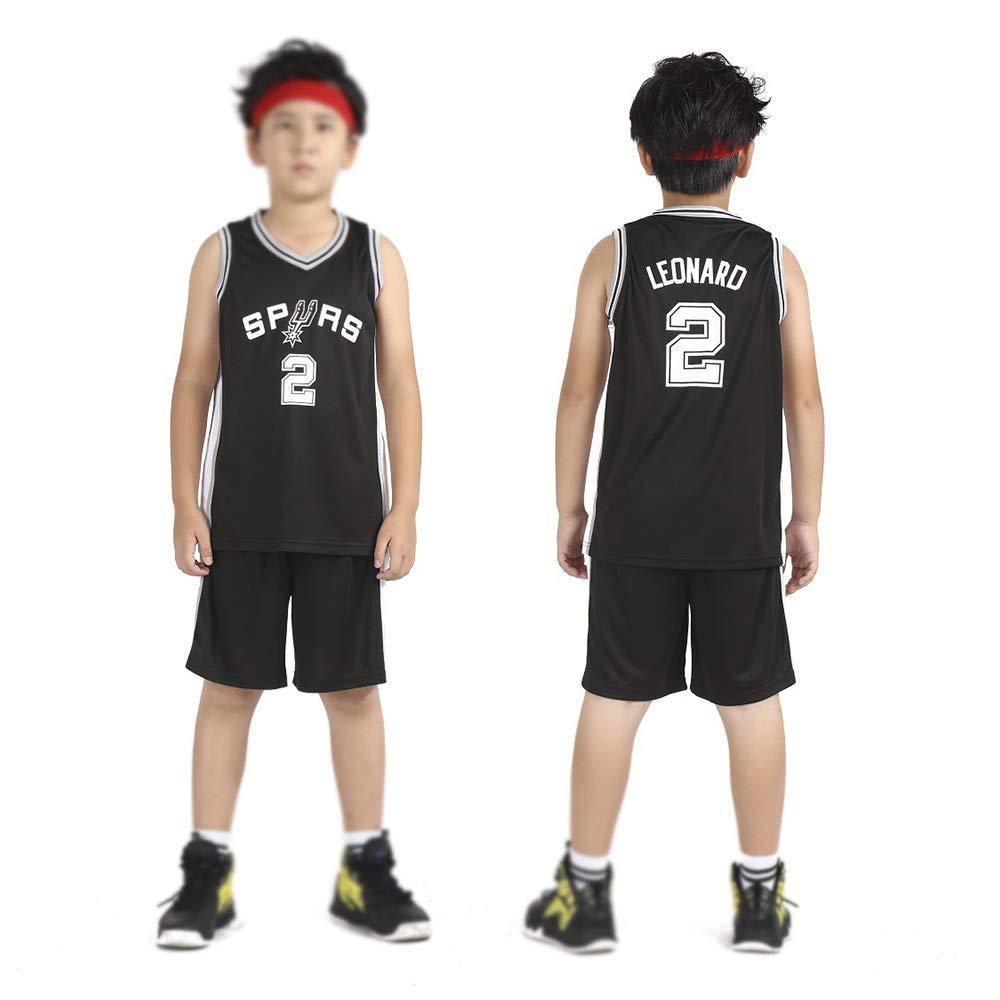 Kinder Jungen M/ädchen M/änner Erwachsene Basketball Trikots Sommer Anz/üge Kits Top Shorts 1 Set Schwarz CYGG JERS San Antonio Sporen Kawhi Leonard # 2 Trikot