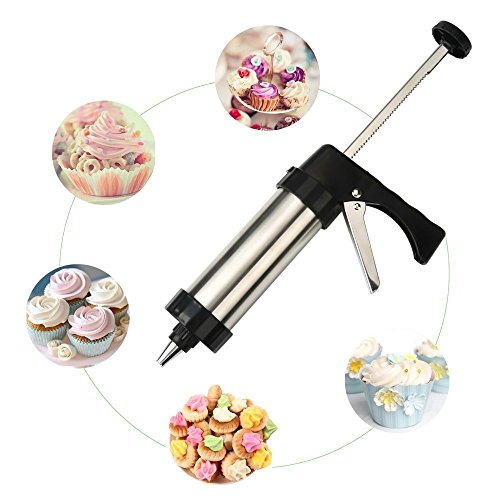 Stainless Steel Cookie Press Kit/Icing Decorating Gun Sets for Biscuit/Cake Decoration (22 -