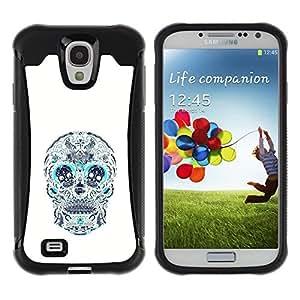 """Pulsar iFace Series Tpu silicona Carcasa Funda Case para Samsung Galaxy S4 IV I9500 , Cráneo Teal blanco del estampado de flores de la Muerte"""""""