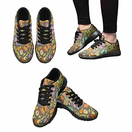 InterestPrint Womens Jogging Running Sneaker Lightweight Go Easy Walking Casual Comfort Running Shoes Grunge Floral Ornament and Butterflies On Green Multi 1 hS7PeUid