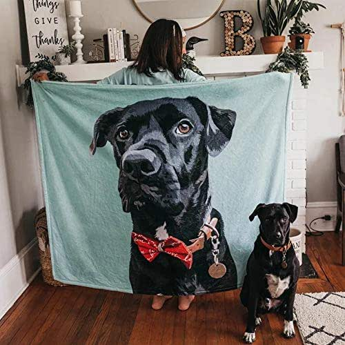 VEELU Personalized Throw Dog Blanket Super Soft for Baby & Adult Custom Collage Fleece Blanket with Pet Photos Names Pictures Birthday Wedding Gift 55