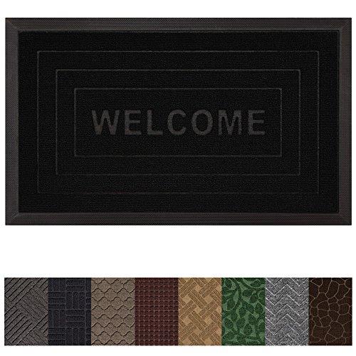 Gorilla Grip Original Durable Rubber Door Mat (29 x 17) Heavy Duty Doormat, Indoor Outdoor, Waterproof, Easy Clean, Low-Profile Rug Mats for Entry, Garage, Patio, High Traffic Areas (Black Welcome) ()