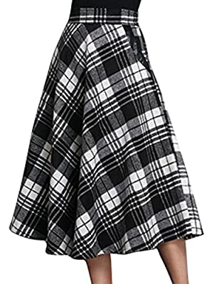 chouyatou Women's Stretchy High Waist A-Line Plaid Wool Skirts with Pockets