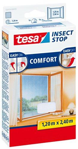 tesa Fliegengitter für bodentiefe Fenster, beste tesa Qualität, weiß, leichter Sichtschutz, 1,2m x 2,4m