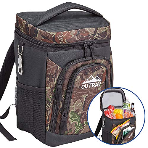 Outrav Camo Backpack Cooler Bag with Bottle Opener Fully Insulated Thermal 16 Can Tote – Padded Back and Shoulder Strap – Front Zipper and Mesh Water Bottle Pockets
