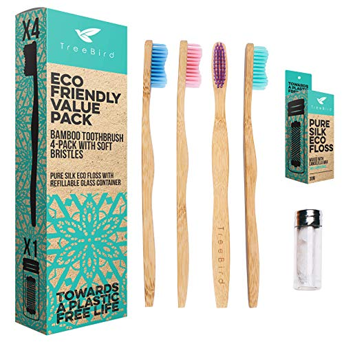 Bamboo Toothbrush 4-pack & Natural Silk Dental Floss With Refillable Glass Holder | Biodegradable Oral Care Set | Soft BPA-free Bristles | Eco-Friendly Gifts For Men And Women | Natural ()