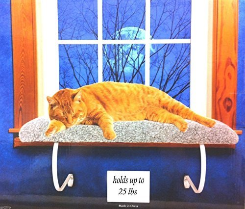 Cat Window Perch Bed Sheepskin NO Tools up to 25 lbs by Lazypet
