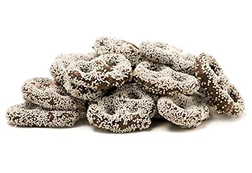 Gourmet Dark Chocolate Covered Pretzels with White Nonpareil by Its Delish (1 lb) (White Chocolate Covered Pretzels Halloween)