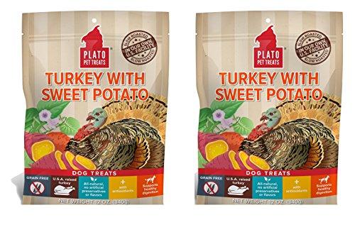 PLATO Dog Treats - Turkey Sweet Potato - 12 oz (2 Pack)