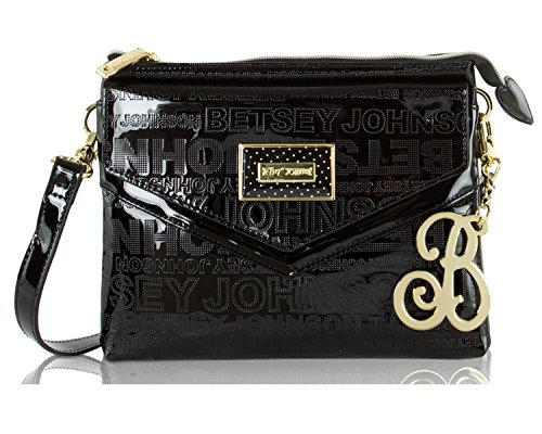 Patent Leather Logo Handbag (Betsey Johnson Perforated Logo Patent Multi Compartment Crossbody Bag - Black)